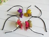 Free Shipping 20 PCS/LOT  Hairbands Flash Colorful Irregular Crystal Gold Cord Wrapped Headband ribbon Bow with diamond