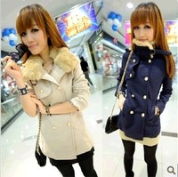 2013 winter rabbit fur double breasted woolen outerwear women's medium-long wool coat  FREE SHIPPING