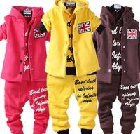 2014 New Arrival  children's letter sportwear clothing sets:vest+hoodies+pants baby girls boys sport suit spring autumn clothes