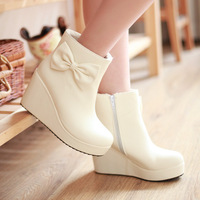 2013 snow boots platform wedges bow ultra high heels boots female shoes winter boots