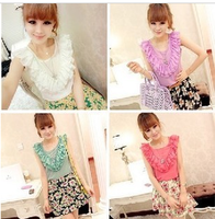 8211 sweet personality before and after the lotus leaf laciness heart candy color all-match chiffon vest