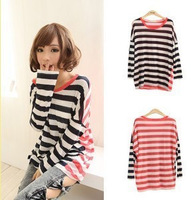 844 2011 new arrival autumn personality irregular patchwork stripe long-sleeve T-shirt casual loose series