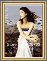 JIUJIU DIY digital oil painting Free shipping home decoration the picture unique gift 40X50cm Listen to the sea paint by number
