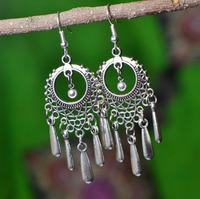 Free Shipping Handmade National trend accessories jewelry tibetan Tibet silver  tassel silver drop earring X'mas Gift