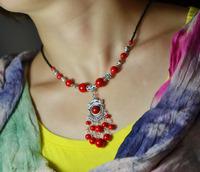 Free Shipping Handmade Fashion vintage jewelry national trend female tibetan Tibet Silver pendant stone pine necklace X'mas Gift