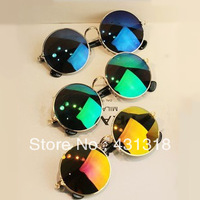 Free shipping VINTAGE STEAM PUNK  women  Designer Fashion  Metal SUNGLASSES  Hot New Star Men Retro CIRCLE Colorful Sun GLASSES