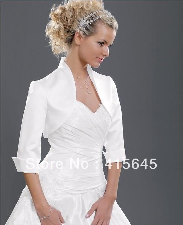 Elegant Half Sleeves Satin Jacket/Shwal/Shrug/Bolero/Wrap for Wedding Dresses(China (Mainland))