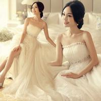 High waist train wedding dress formal dress 2015 plus size tube top maternity strap wedding dress