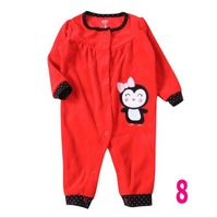 2013 hot sale 1 piece Free Shipping Carters baby jumpsuits Polar Fleece BIG RED Sleeves Rompers for Baby Girls 3M 6M 9M 12M