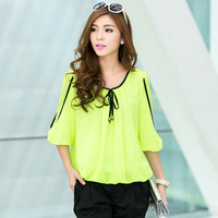 2013 autumn hot plus size fashion women's neon bright color o-neck beading three quarter sleeve chiffon shirt