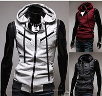 Men's jackets vests, knitted hooded multi zipper College Wind Slim vest M02 M,L,XL,XXL. Free shipping