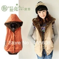 2013 autumn and winter vest Women plus size fashion waistcoat plus velvet thermal with a hood vest outerwear