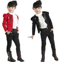 2013 spring new girls bottoming shirt + jacket + pants three-piece children's fashion Korean version of the small suit suit