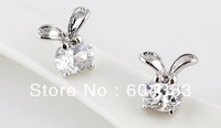 6pairs Gold Rhodium Plated  Big Ear Rabbit  AAA CZ Cubic Zircon Stud Earrings Crystal Zirconia  Earrings Jewelry  Accessories