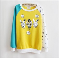 [bunny]fashion nice style good quality cartoon who me love pullovers hoodies women star full sleeve sweatshirs 4 color 6365 free
