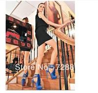 Brand New Newest Fashion Blue Suede  Strappy Sandals Blue Suede Fringe Peep Platform Pumps Red Bottom Shoes