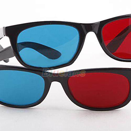 1pc Blue Red Cyan Plastic Framed 3D Glasses 3 D Dimensional Film Movies 3D Glasses Wholesale(C