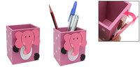 Cartoon Elephant Wood Pen Pencil Holder with Memo Clip