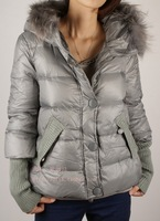 2013 large fur collar slim medium-long down coat female