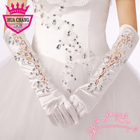 Huachang accessories wedding dress formal dress gloves long design lace decoration big gloves red white