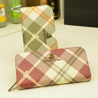 2013 women's handbag bear design long wallet print plaid women's wallet day clutch card holder