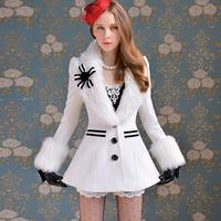 Woolen outerwear female autumn and winter white fur collar stripe pocket corsage outerwear overcoat u