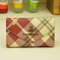 2013 women's autumn long design wallet bear envelope long design plaid wallet