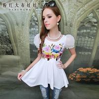T-shirt female short-sleeve white flower print irregular bubble gauze short-sleeve T-shirt u
