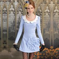 Long-sleeve blue slim a white collar xiangpin three-dimensional petals flower woolen one-piece dress u