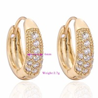 ER0487  18K Gold Plated Hoop Huggie Earrings For Women,Sparkle CZ Stone Cubic Zirconia Earring Vintage Jewelry, Free shipping