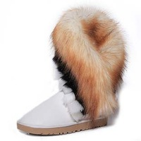 size 35-40 fashion female lady tassel artificial fox rabbit fur leather flat ankle women snow boots and winter shoes #Y10625Q