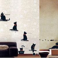 LD843 33*60cm Black cat DIY Wall sticker PVC Window Decor Stickers/Wandttattoo/ Decals Kids Free Shipping