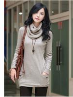 2014 Autumn Winter Women Sweater Dress,Plus Size Long Sleeve Long Sexy Tops,Casual Knitwear With Neckerchie Korean Style  W849