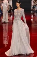 Elie Saab New Design Heavy Beaded Jewel Custom Made Formal Full Sleeve Long Prom Evening Dresses 2014
