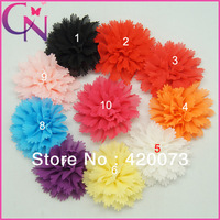 "30 Pieces/Lot 4.5"" Shabby Flower For Kids Silk Chiffon Flower With Clip Solid Chiffon Flower For Children CNHB-131186"