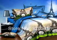 4 or 5pcs Full Queen Cotton Imitated Oil Painting World-famous Paris Eiffel Tower Bedding Duvet Cover Set Comforter Sets-Blue