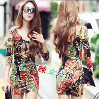 Women cultivate one's morality big yards long sleeve dress