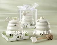 Free Shipping 10 pcs Ceramic Meant to Bee Honey Jar Honey Pot Baby shower favors  Wedding favors