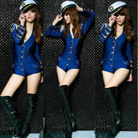 FREE SHIPPING 2013 sexy one piece navy female police uniforms ds lead dancer clothing modern dance costumes costume