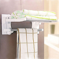 Bathroom home necessities yiwu strong suction cup 40 folding towel rack towel rack