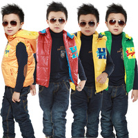 Children's clothing new arrival autumn and winter male child cotton vest jacket with a hood upperwear boys fashion vest 100 -