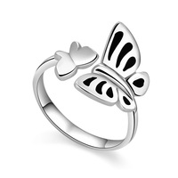Follow like a shadow butterfly opening ring Romantic Fashion