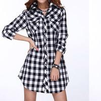 Big size clothing winter  long-sleeve plaid shirt loose long design plus size plus size one-piece dress