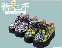 Free shipping! 2013 women's shoes fashion shoes Autumn doodle platform lacing platform single shoes comfortable flat shoes