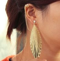 Charming PUNK  Gold & Silver Plated Rhinestone Big Feather  Tassel Chain Studs Earring/Ear Cuff,12pcs/lot,2 colors