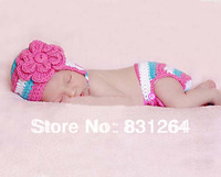 Free shipping infant knitted clothes baby crochet clothes toddler baby girls costume photo prop knit crochet clothes Rose Flower