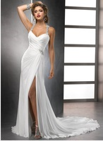Sexy beach chiffon marriage bride women wedding dress all size All colors  designer gowns