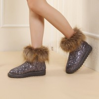 2012 autumn and winter vintage platform casual female boots paillette women's shoes faux snow boots