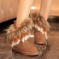 New arrival nubuck leather rabbit fur boots snow boots female medium-leg waterproof platform cotton-padded shoes fashion warm