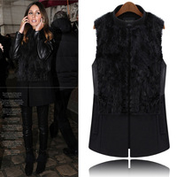 2013 fashion plus size clothing star style fur rabbit fur patchwork medium-long woolen stand collar vest